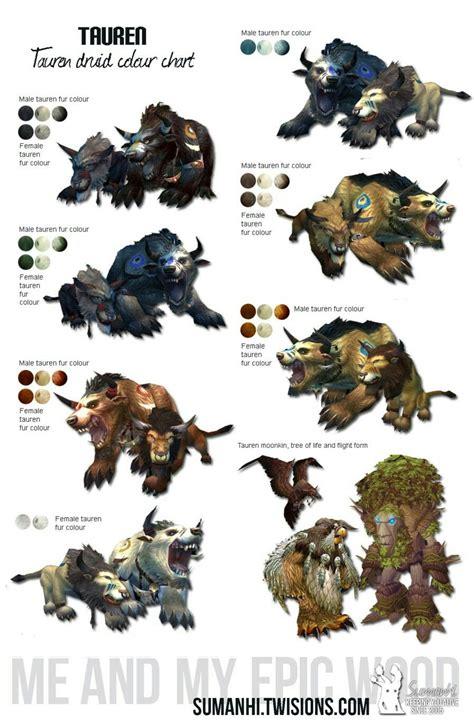 troll druid colors tauren druid color chart world of warcraft