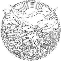 narwhal unicorn coloring book page