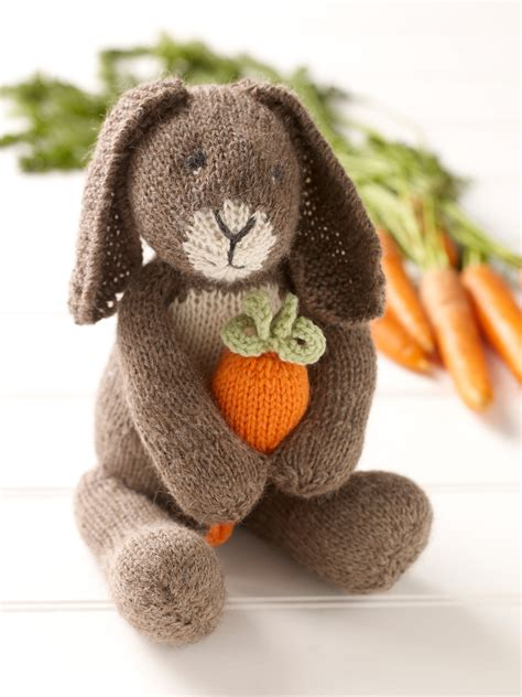 knitted rabbit bunny with carrot 183 extract from knitted rabbits by val