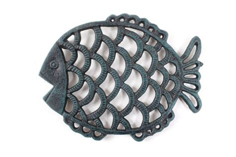 Cast Iron Decor Wholesale by Wholesale Seaworn Blue Cast Iron Big Fish Trivet 8