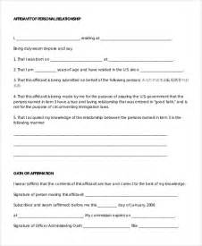 personal affidavit template sle affidavit 9 exles in word pdf