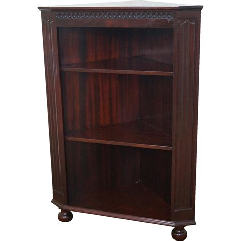 quality mahogany corner open bookcase w turned from