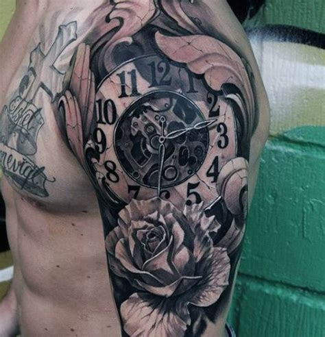 timeless clock and roses sleeve 80 clock designs for timeless ink ideas