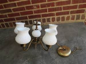 hobnail milk glass chandelier vintage hobnail milk glass and bronze hanging chandelier