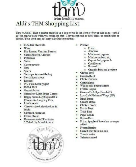 aldi printable shopping list 17 best images about thm charts on pinterest trim