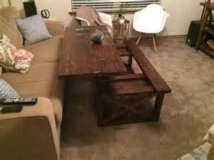 white diy lift top coffee table rustic x style