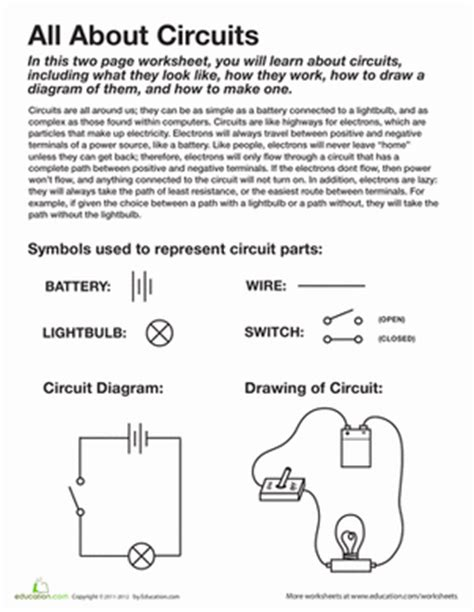 Science Worksheets 4th Grade by All About Circuits Worksheet Education