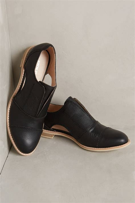 all black oxford shoes all black cutout cowman oxfords in black lyst
