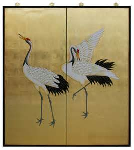 Gold Leaf Home Decor Gold Leaf Painted Cranes Asian Home Decor By China Furniture And Arts