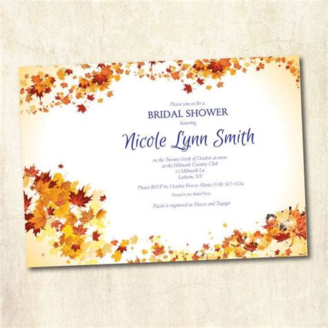 Fall Bridal Shower by Bridal Shower Invitation Autumn Fall Theme Shower
