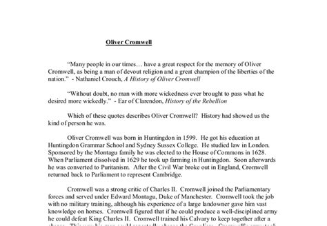 Oliver Cromwell Essay by Free Oliver Cromwell Essay