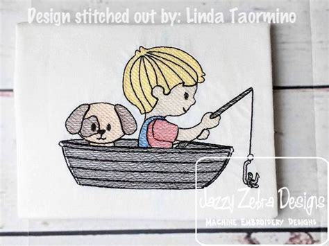 fishing boat embroidery design boy and his dog fishing in a boat sketch embroidery design
