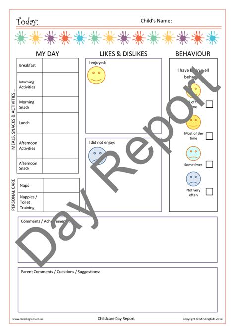 childcare contact diaries mindingkids