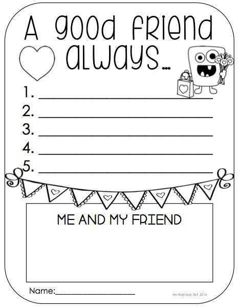 Friendship Worksheets by Kindergarten Literacy A Friend And Writing Prompts