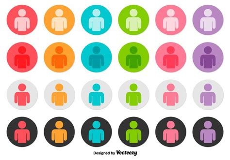 Vector Set Of Person Icon Buttons   Download Free Vector