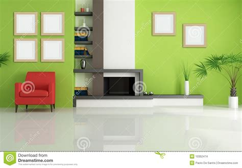 green living green living room with modern fireplace stock images