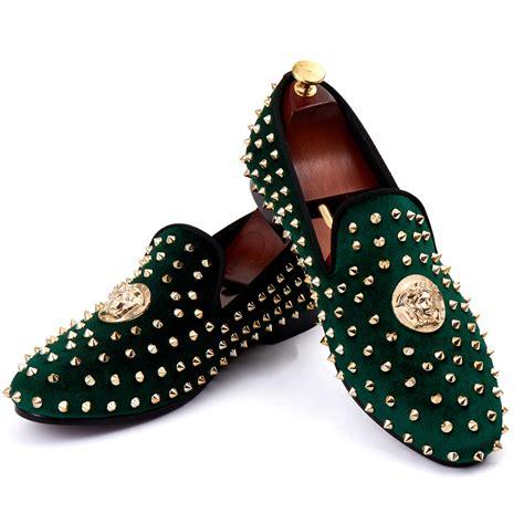 harpelunde dress shoes studs flats shoes green velvet