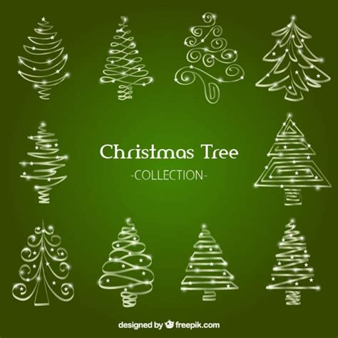 collection of hand drawn ornamental christmas trees vector