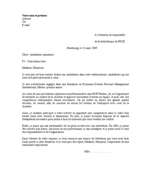 Exemple De Lettre De Motivation Pour Devenir Français Lettre De Motivation Biblioth 232 Que Universitaire