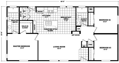 Ardmore 3 Floor Plan by Cottondale 24 X 48 1136 Sqft Mobile Home Factory Select