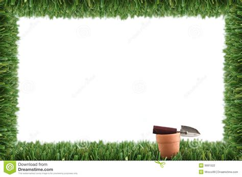 gardening picture garden grass frame and pot stock photo image of fake