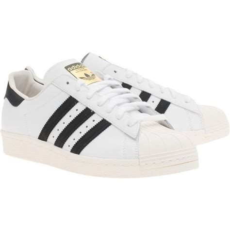adidas originals superstar 80s white black flat leather sneakers found on polyvore featuring