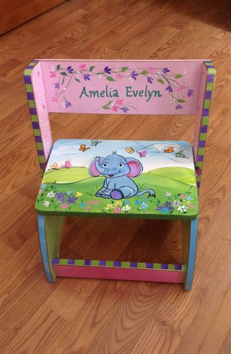 Painted Personalized Step Stools by Whimsical Painted Furniture Painted Step Stool Chair
