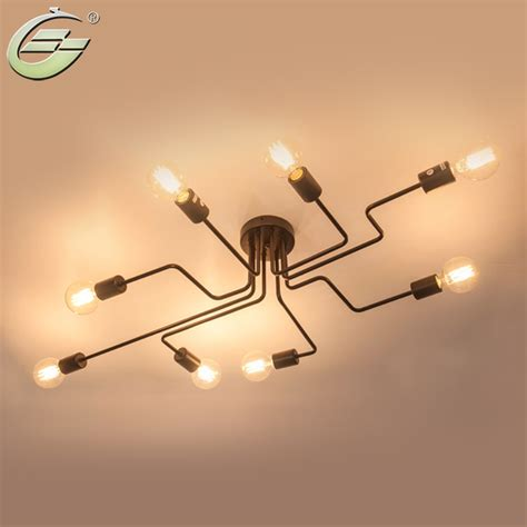 Creative Ceiling Lights Retro Creative Metal Flush Mount 4 6 8 Light Cafe Bar Ceiling L Chandelier Lighting Fixure
