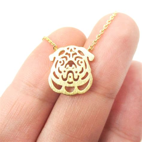pug charm necklace small pug silhouette shaped animal charm necklace in gold 183 dotoly animal