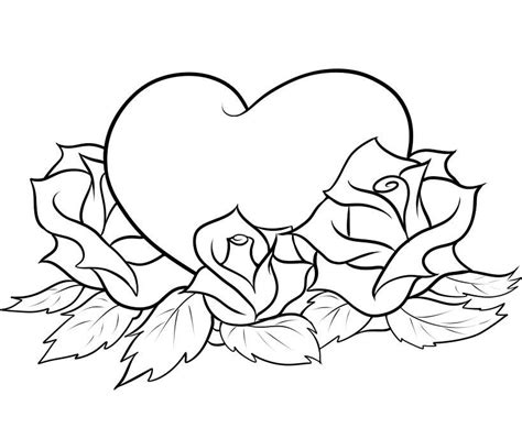Coloring Pages Of Hearts And Roses | roses and hearts coloring pages az coloring pages