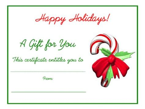 Free Printable Gift Cards - free holiday gift certificates templates to print