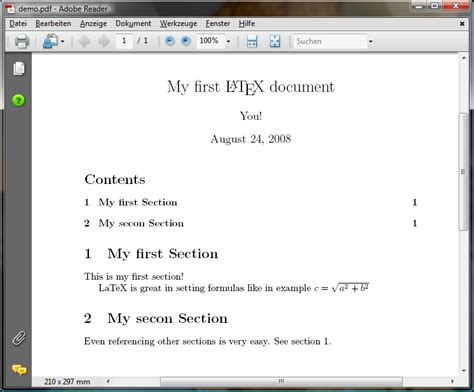 document sections texniccenter 187 about latex