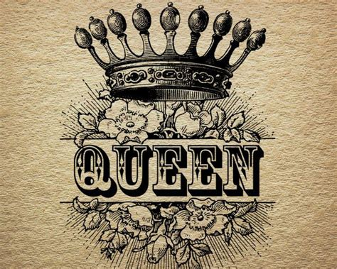 tattoo queen print queen crown royalty roses victorian antique by