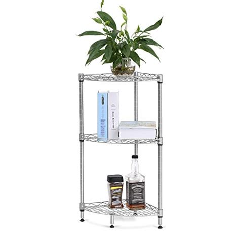Free Standing Corner Shelf by 3 Tier Corner Shelf Storage Rack Free Standing Wire Mesh