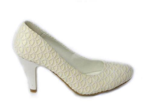 Creme Schuhe Hochzeit by Womens Mid Heel White Bridal Wedding