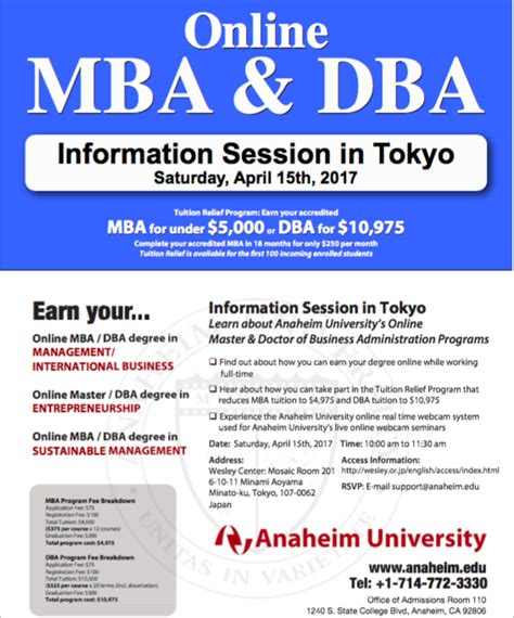 Mba Programs In Tokyo by Anaheim To Host Mba Dba Information Session