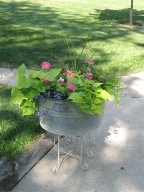 Washtub Planter Outdoor Pinterest Planters Gardens Wash Tub Planters