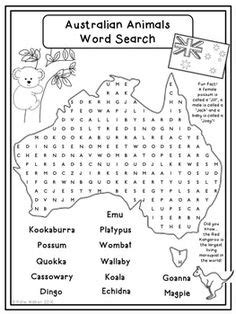 australian animal word search puzzle australia day puzzles primary education fun words and