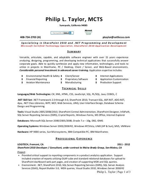 sharepoint developer resume exles 28 images sharepoint