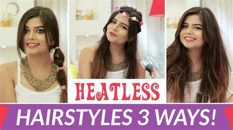 heatless hairstyles youtube heatless easy 3 hairstyles in 60 seconds hairstyle