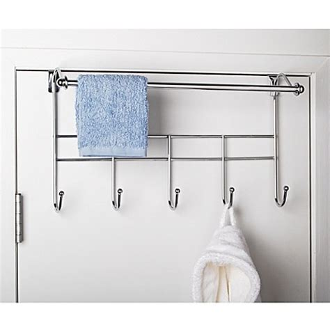 bathroom door towel racks buy over the door hook rack with towel bar from bed bath