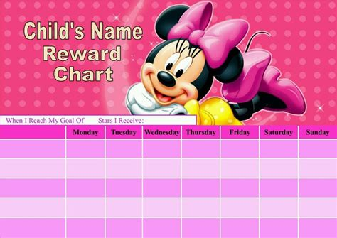 minnie mouse printable reward charts personalised minnie mouse reward chart potty training