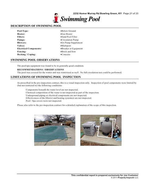 Residential Home Inspection Sle Report Residential Pool Inspection Report Template