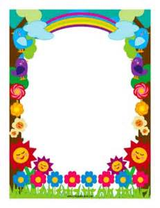 flowers and rainbows decorate this colorful border free
