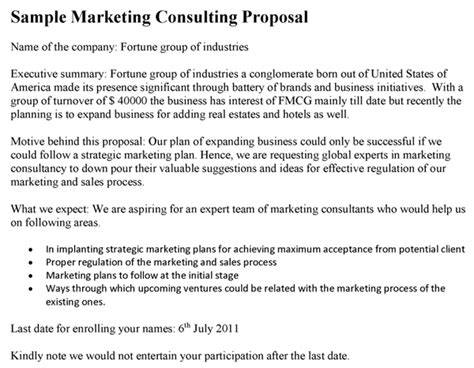 Marketing Consulting Proposal Template Marketing Consultant Contract Template