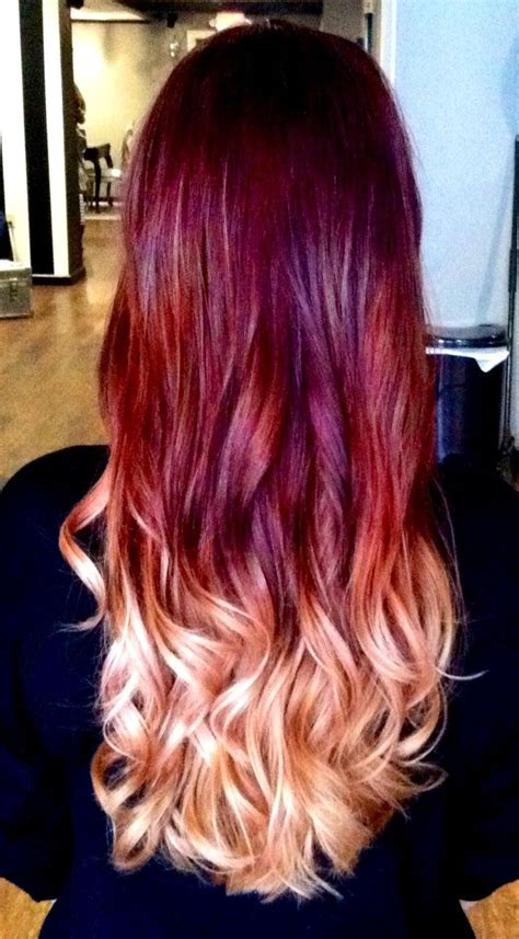 red and blonde hombre pics i did a beautiful violet to red to blonde ombre today on a