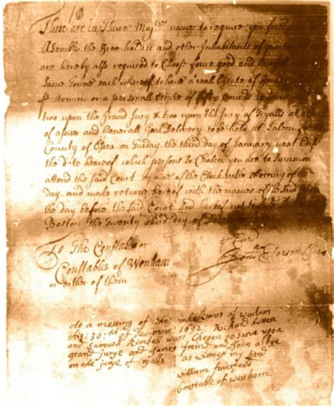 Records Court Documents William Fairfield Salem Witch Trial Jury Selection 1692