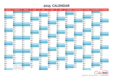 Blank Yearly Calendar Template 2015 by Blank Yearly Calendar 2015 White Gold
