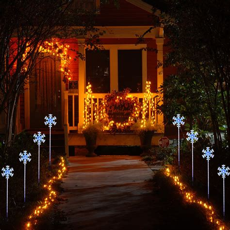 8x led snowflake stake lights christmas garden l