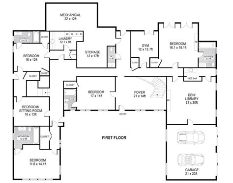 1 Level House Plans by U Shaped House Plans Single Level Home Ideas Floor